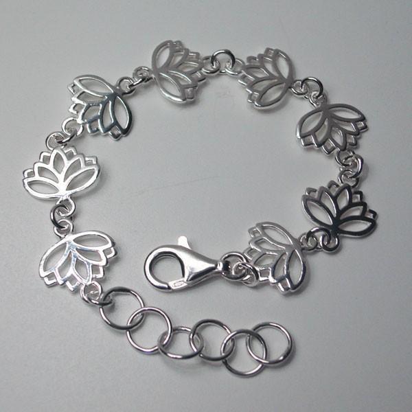 Pulsera de plata flor de loto