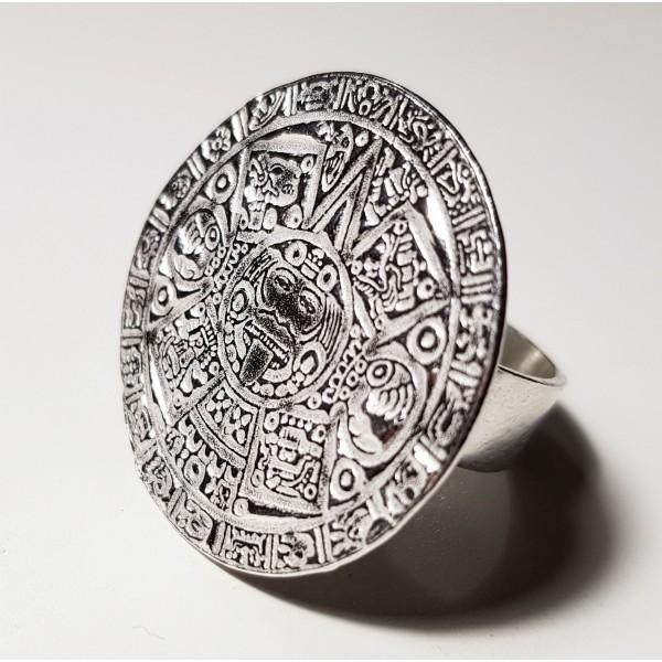 Anillo Azteca de plata