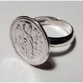 Anillo de plata moneda romana