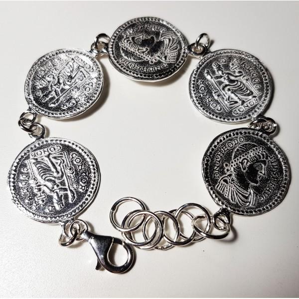 Pulsera de plata monedas romana.