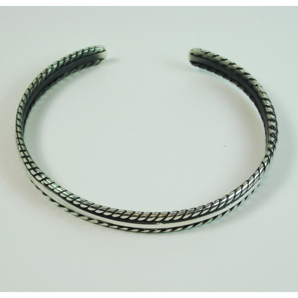 pulsera de plata rigida oxidada