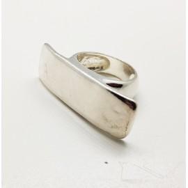 anillo de plata Liso rectangular