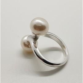 Sortija doble perla