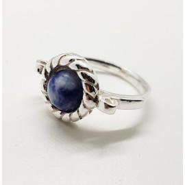 anillo hilo trenzado sodalita