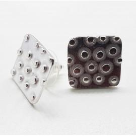 Pendientes de plata texturas oxido
