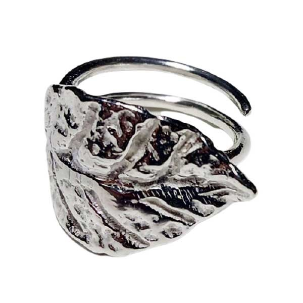 anillo hoja plata