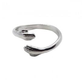 anillo abrazo plata