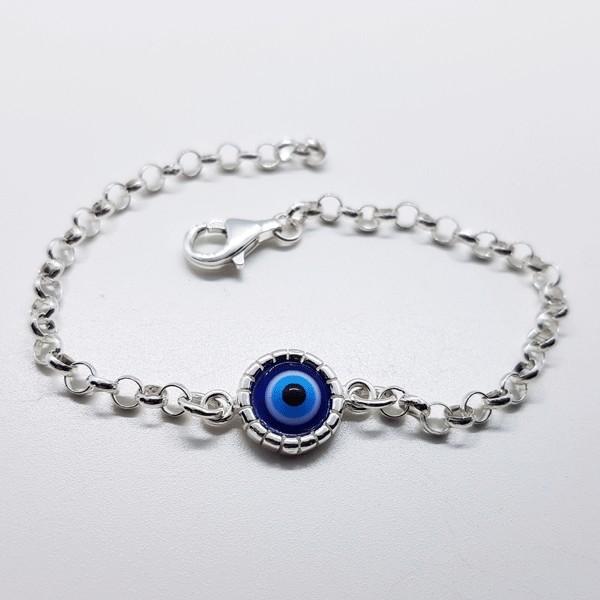 pulsera ojo turco plata
