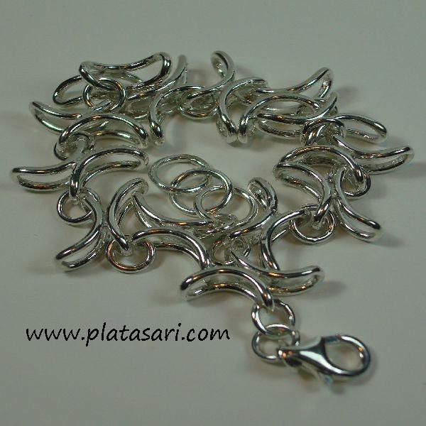 pulsera de plata eslabones en brillo