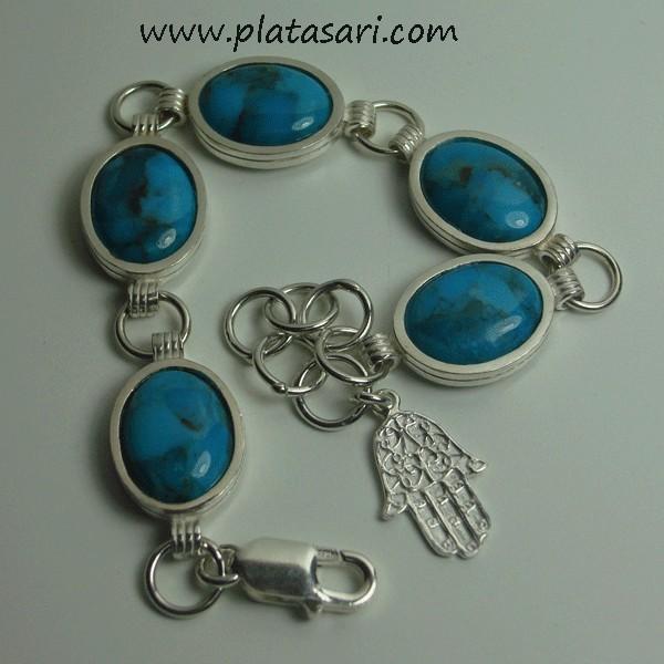 pulsera de plata con piedra semipreciosa