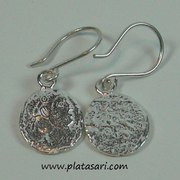 Pendientes de plata moneda romana