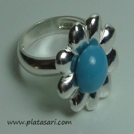 anillo de plata flor