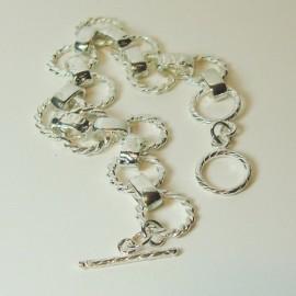Pulsera de plata hilo trenzado