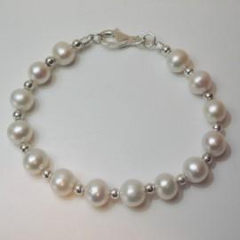 Pulsera perla y bolas de plata